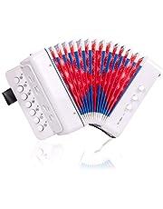 Horse Przycisk akordeon, 10 klawiszy kontrola dzieci akordeon instrumenty muzyczne dla dzieci dzieci początkujących lekkie i przyjazne dla środowiska (białe)