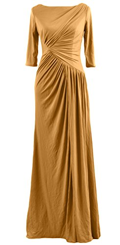 Celebrity Half Boat MACloth Neck Dress Gold Jersey Long Sleeve Evening Women Gown zq575xBwO