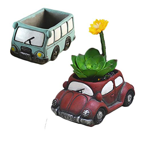 Succulent Planter Creative Retro Cartoon Car Plant Flower Pot Micro Landscape for Shop Window Garden Bonsai Desk Decor Gift