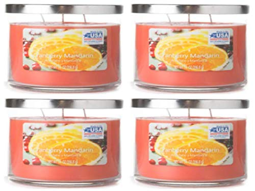 (Mainstays 14oz Scented Candle, Cranberry Mandarin 4-Pack Chrome Lid)