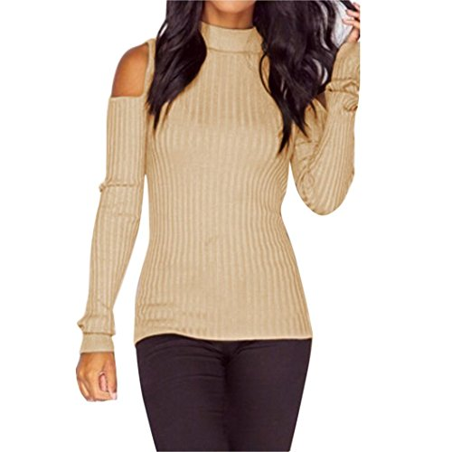 Clearance!Napoo Women Off Shoulder Turtleneck Knitted Pullover Sweater Slim Blouse (S, Beige)