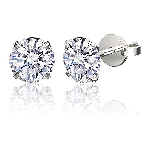 .925 Sterling Silver Hypoallergenic Cubic Zirconia Round Brilliant-Cut Stud Earrings, 5mm