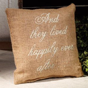 The Country House and They Lived Happily Ever After - French Flea Market Burlap Accent Throw Pillow 8-in x 8-in