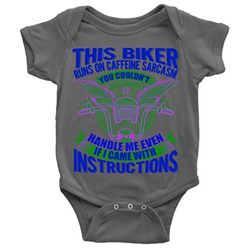 (Runs On Caffeine Baby Bodysuit, This Biker Cute Baby Bodysuit (6M, Baby Bodysuit - Dark)