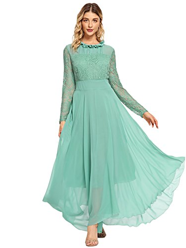 Milumia Women's Vintage Floral Lace Long Sleeve Ruched Neck Flowy Long Dress Green S
