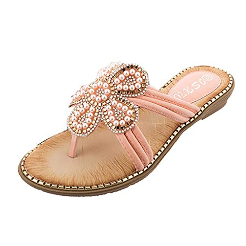 zitan Women Sandals Softbed Memory Foam Boho Thong Sandals Beaded Flip Flops Flat Comfy Slippers Shoes for Ladies Beach Shoes