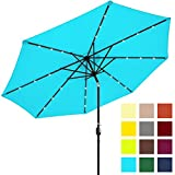 Best Choice Products 10ft Solar Powered LED Lighted Patio Umbrella w/ Tilt Adjustment, Fade-Resistant Fabric, Wind Vent - Light Blue
