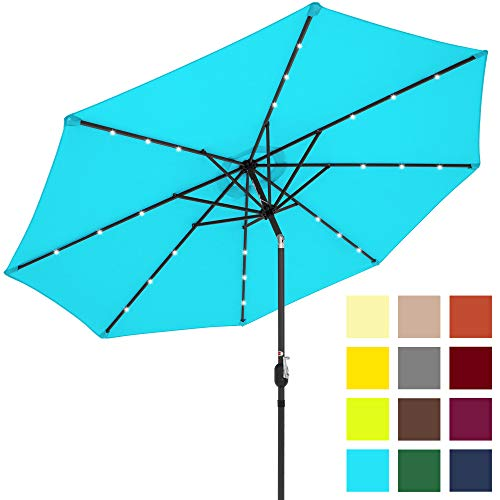 Best Choice Products 10ft Solar Powered LED Lighted Patio Umbrella w/ Tilt Adjustment, Fade-Resistant Fabric, Wind Vent - Light Blue (Products Patio)