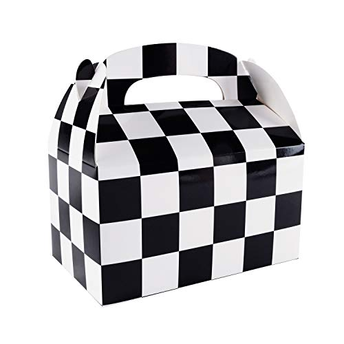 Cars Party Favor Boxes (12 Pack Black and White Checker Racing Flag Pennant Treat Gift Paper Cardboard Boxes with Handles for Crafts Candy Goodie Bags, Picnic Snacks, Birthday Party Favors (6.25