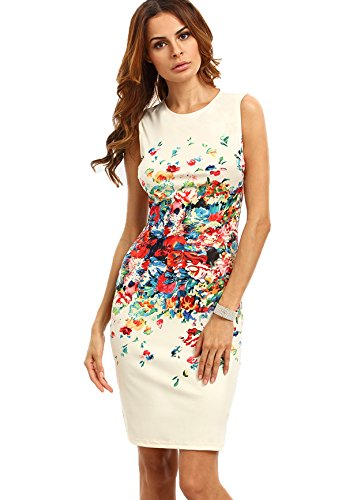 al Print Sleeveless Split Cocktail Party Bodycon Dress Medium Multicolor Flower ()