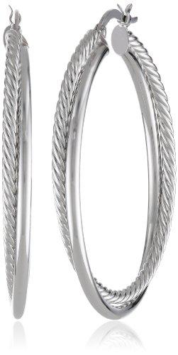14k White Gold Italian Hoop - 14k White Gold Italian Twisted Hoop Earrings
