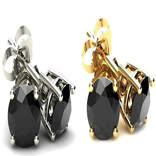 (4 Ct Round Heat Treated Black Diamond 14K White Or Yellow Gold Studs Earrings in Basket Setting)