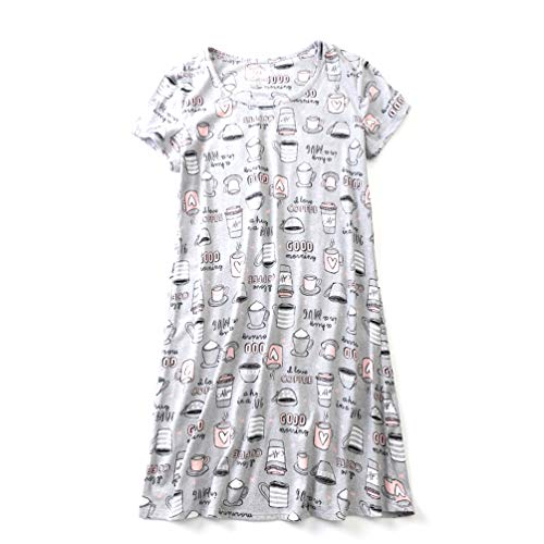 ENJOYNIGHT Women's Sleepwear Cotton Sleep Tee Short Sleeves Print Sleepshirt (X-Large, Coffee Cup)