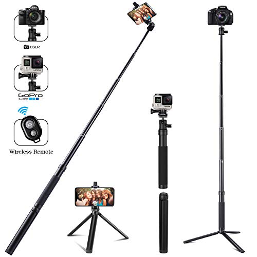 Eocean Selfie Stick Tripod, 46 Inch Extendable Selfie Stick with Wireless Remote for Cellphone with iOS and Android System, Compatible with iPhone/Samsung/Google/Compact Cameras
