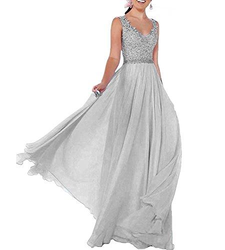 Lang Ausschnitt V Brautkleid Abendkleider Beyonddress Brautjungfern Silber Hochzeit Kleider Damen Chiffon Ballkleider wCxtCSqgZ