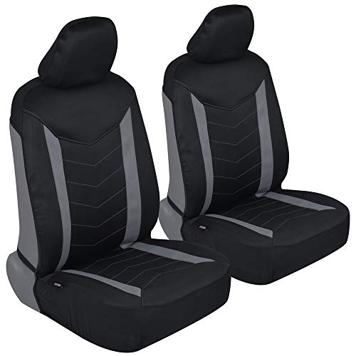 Motor Trend M284 AllProtect Neoprene Car Seat Covers - Two Tone Stitched Premium Waterproof Auto Universal Fit for Sedan Truck SUV (Car Seat Covers Nissan Versa 2018)