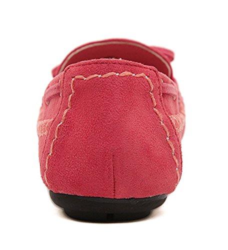 Aisun Damen Schleifen Suede Flach Weiche Sohle Slipper Bootsschuhe Mokassins Rot
