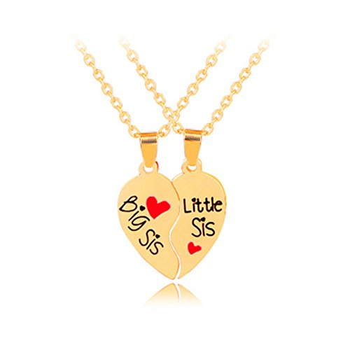(Gifts for Sisters Heart Matching Big Sis Little Lil Sis Sisters Necklace Jewelry Gift Set Best Friends Sister Necklaces for 2 Sister Jewelry Birthday Christmas Gifts for Girls Teens Women)