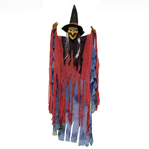 Adorox Scary Flashing Blinking Laughing Light up LED Hanging Witch Figure Doll Haunted House Spooky Creepy Novelty Halloween Decoration]()