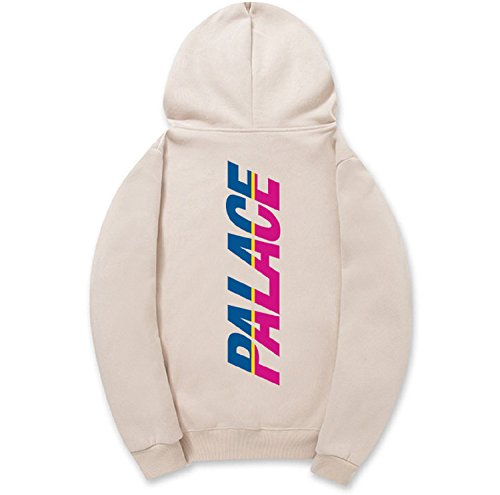 CORIRESHA Street Fashion Two-tune Logo Print Fleece Drawstring Hooded (Two Tune)