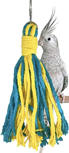 Bonka Bird Toys 1575 Small Rainbow Rope Bird Toy Cage Parrot Cages Perch Cockatiel Parakeet Budgie Birds Conure Nest Cotton Preening Beak Playground Weave Supplies