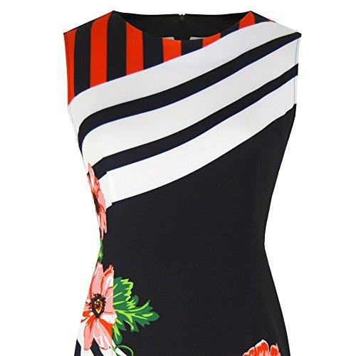 Cóctel Sin Vestido Impresión Formal Fiesta Redondo Deylaying Vestido Raya Mujer Cuello mangas Oficina Vestido Htfgv