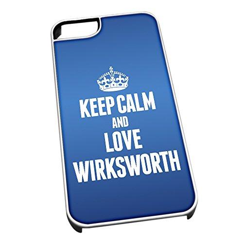 Bianco Custodia protettiva per iPhone 5/5S Blu 0728Keep Calm e Love Wirksworth