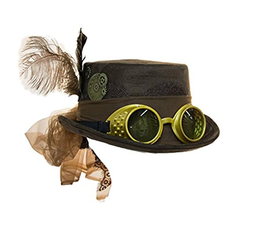 Jacobson Hat Company Deluxe Velvet 4.25 Inch Steampunk Top Hat With Removable Goggles (Brown), One Size