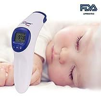GHB Fieberthermometer Infrarot Stirntermometer Baby Berührungslos Thermometer mit LCD Anzeige FDA Zulassung für Babys Kinder Erwachsene