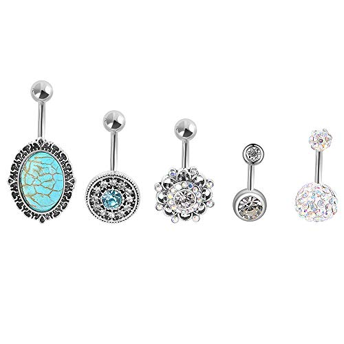 HuayoRong 5Pcs 14G Belly Button Rings Stainless Steel Belly Ring Navel Rings Industrial Piercing Jewelry