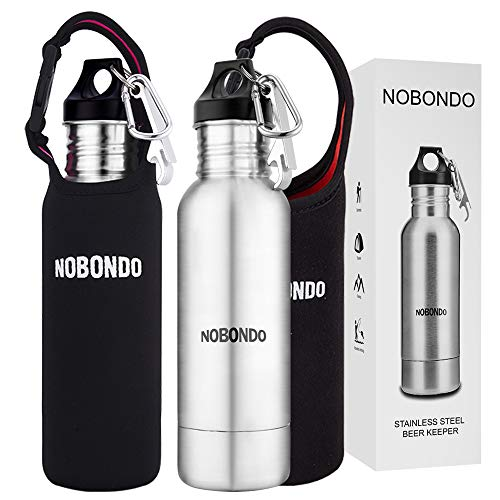 Stainless Steel Beer Bottle Cooler - 2 Pack Beverage Keeper for Standard 12 OZ Bottle with Opener, Extra Portable Insulator Bag & Carabiner Attached by Nerub Warehouse