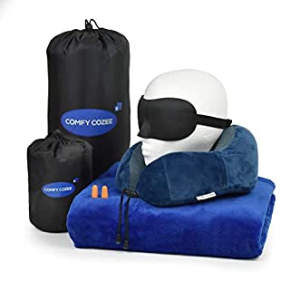 Deluxe 5 in 1 Travel Set- Flight Kit Includes 100% Memory Foam Travel Neck Pillow With Soft Mink Plush Travel Blanket+Eye Mask & Ear Plugs With Carrying Storage Pouch, Great Idea For Travel & Camping