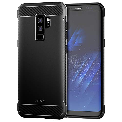 JETech Case for Samsung Galaxy S9 Plus, Protective Cover with Shock-Absorption and Carbon Fiber Design, Black