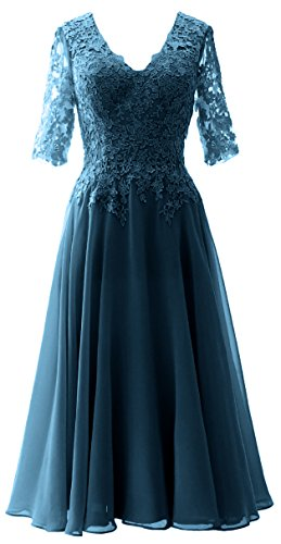MACloth Women Lace Formal Evening Gown Half Sleeves Mother of The Bride Dress (16, Teal)