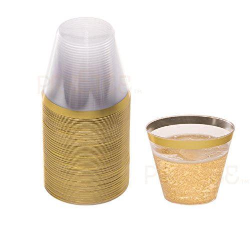 Gold Plastic Clear Cups | 9 oz. 50 Pack | Disposable Party Cups with Gold Rim | Fancy Wedding Tumblers | Elegant Party Supplies & Decorations | Old Fashioned Tumblers [Drinket Collection] (Lightweight Rolled Rim)