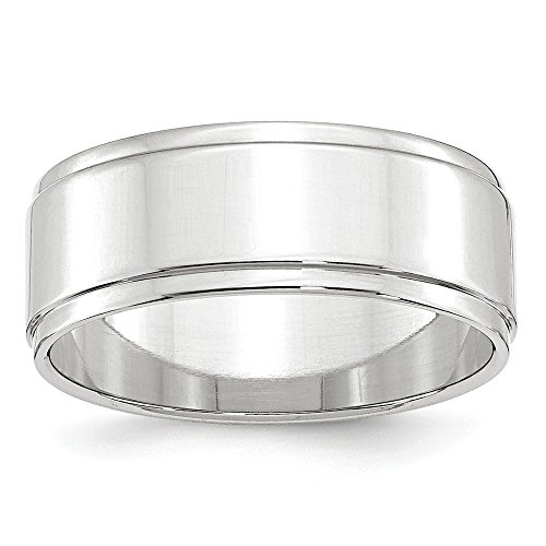 14k Gold Flat Edge (Solid 14k White Gold 8mm Flat with Step Edge Wedding Band Size 6)