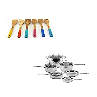 BergHOFF EarthChef Premium 16PC Copper Clad Ckwre Set W/Glass Lids ( Plus 6PC Bamboo Tool Set), Medium, Silver