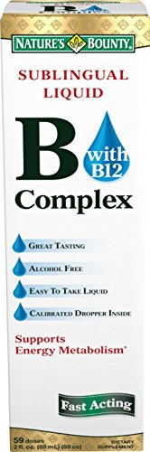 Nature's Bounty Vitamin B Complex with B-12 Sublingual Liquid, 2 Ounce (Pack of 4)