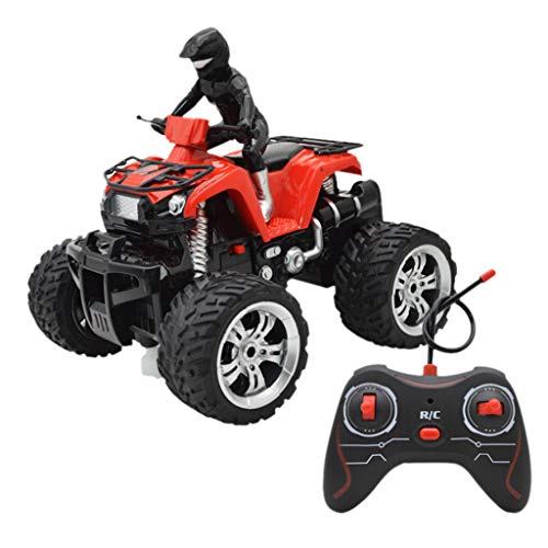 Price comparison product image Onefa Kids Toy Remote Control Car Off-Road Motorcycle Four-Way Vehicles 360° Rotating (One Size,  Red)