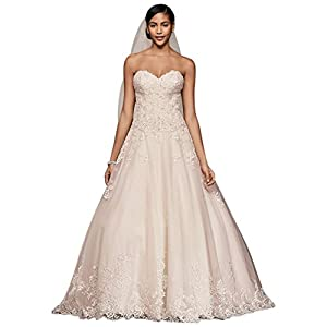 315aef0a74218 David's Bridal Beaded Lace and Tulle Ball Gown Wedding Dress Style V3836