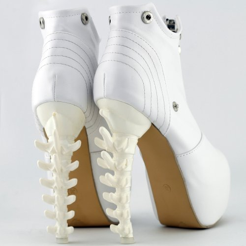 Show Boots Story Zip LF40605 High Ankle Heel Black Platform top Bone High White White frTwfHqx