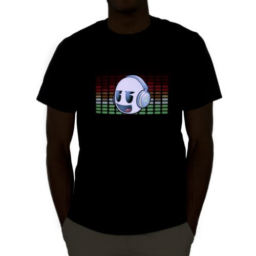 Led Sound Activated El T-shirt - Emazing Lights DJ Dank Head Sound Activated Light Up Rave Tee (X-Large)