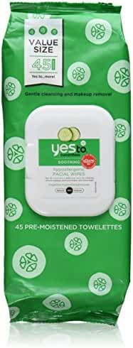 Yes to Cucumbers Hypoallergenic Facial Wipes, 45 Count