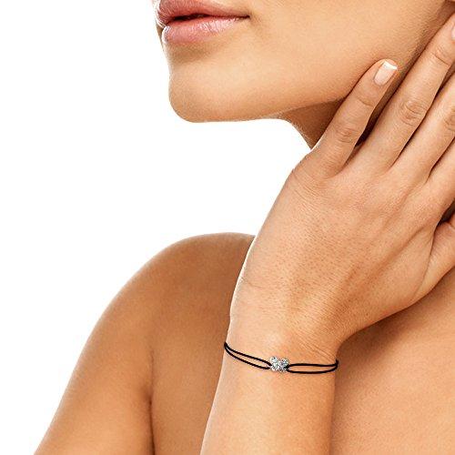 Tousmesbijoux Bracelet papillon diamants sur Or blanc 750/00 - cordon noir