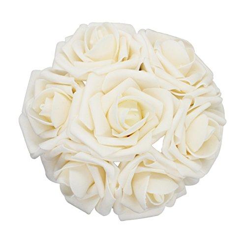 Wedding Flower Centerpiece (25pcs Artificial Flower,Real Touch Artificial Foam Roses Decoration DIY for Wedding Bridesmaid Bridal Bouquet Centerpieces Party (25, Cream))