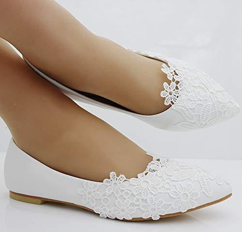 De Zapatos De Ager Blanco Mujeres Los Encaje Zapatos Flower Moojm Banquete De Zapatos Pies Los Del Ballets 01LA Vestir White Boda Planos De Puntiagudos De Las De Ele De Boda UgxnqZ