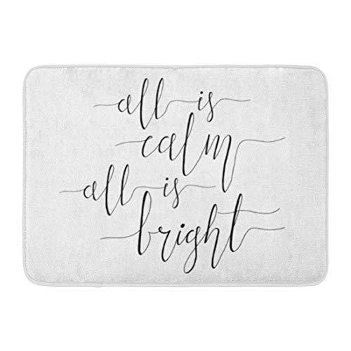 (Kuytresdf Doormats Bath Rugs Outdoor/Indoor Door Mat All is Calm Bright Christmas Carol Inspirational Quote Elegant Ink Hand Lettering Typographical Bathroom Decor Rug 16
