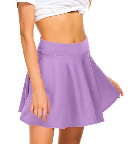 (EXCHIC Women Stretch Waist Flared Mini Skater Skirt Casual Pleated Skirts (S, Lilac))