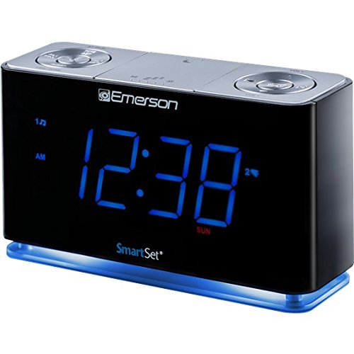 SmartSet Alarm Clock Radio with Bluetooth Speaker, USB Charger for iPhone and Android, Night Light, and Blue LED Display (Certified Refurbished)