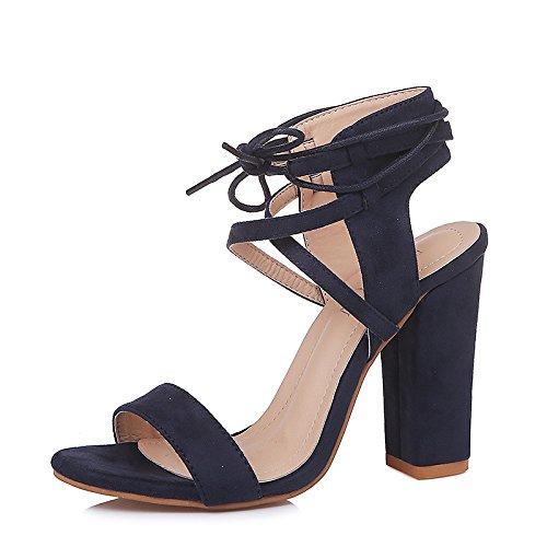 sandalias talón el de cinta Blue básica ZHZNVX abierto sintético microfibra Chunky vestido del bomba Tobillo Talón Primavera amarre mujer para PU Verano Zapatos Slingback de AwqBOZ